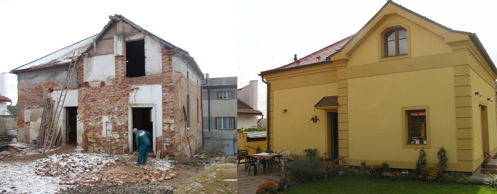 Před a po rekonstrukci domu